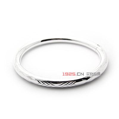 0274-车花银手镯(花纹随机)|韩国饰品批发|银饰批发