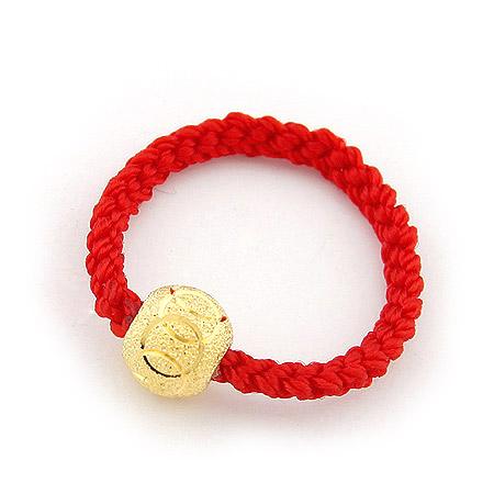 620310-镀金7mm九连环红绳戒指|韩国饰品批发|银饰