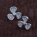 925银+镀白金+镶钻|约0.6g-9*9mm