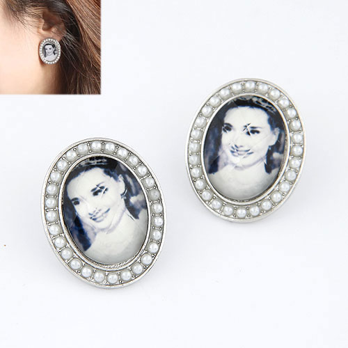 欧美时尚 简洁美女头像气质耳钉|韩国饰品