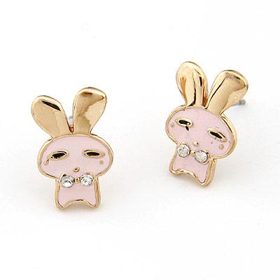 (粉)精品 韩版时尚可爱小兔子耳钉(已售完)|韩国饰品