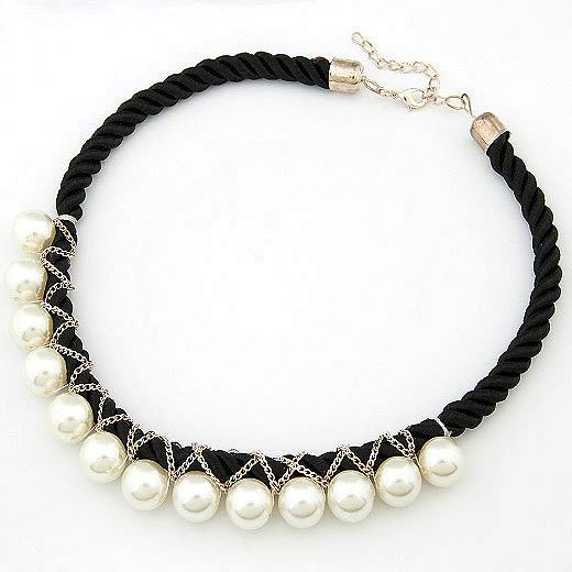 韩版时尚个性珍珠编制绳短款项链 韩国饰品批发 银饰