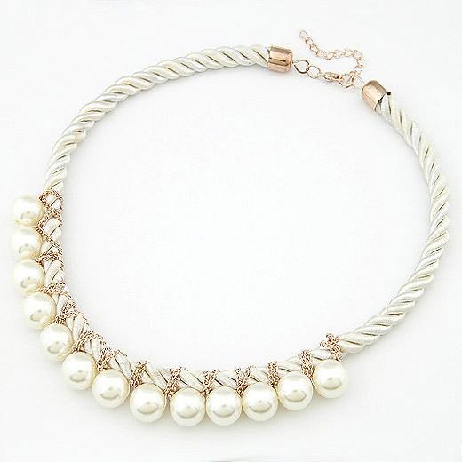 韩版时尚个性珍珠编制绳短款项链 韩国饰品批发 银