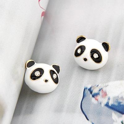 精品-韩版时尚个性小熊猫耳钉|韩国饰品批发|欧美