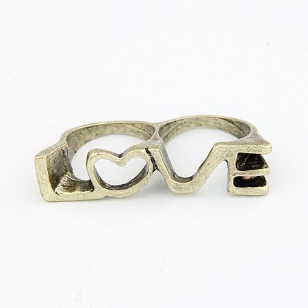 戒指 韩国饰品/当前位置:首页/>>戒指/>> 欧美时尚复古 LOVE 双环戒指