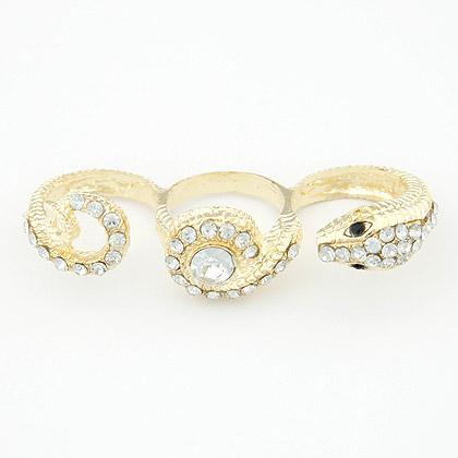 欧美时尚镶钻金色蛇三环开口戒指