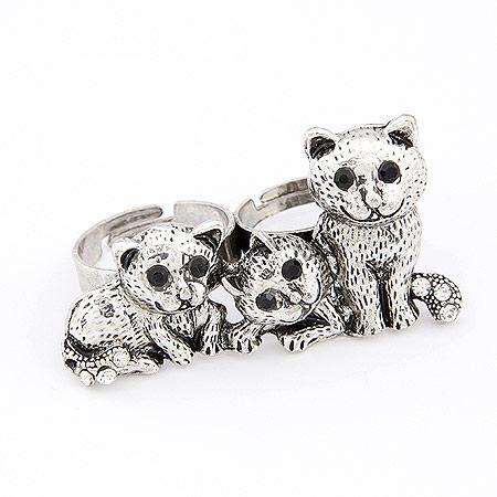 韩版时尚复古和睦家庭 可爱小雪豹双环开口戒指(已售完)
