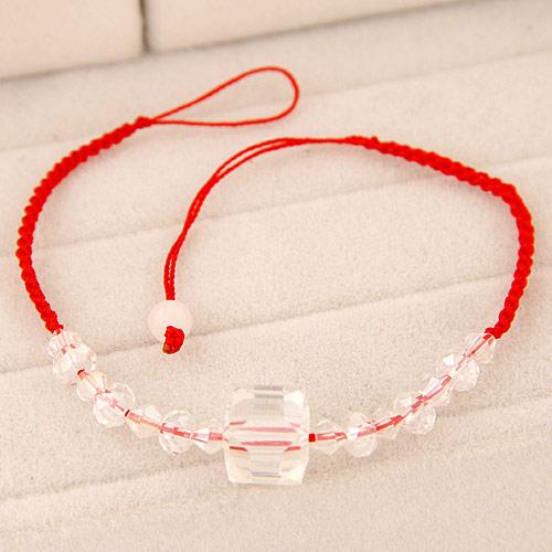 韩版时尚 甜美立体方形水晶红绳手链(手链脚链通用)