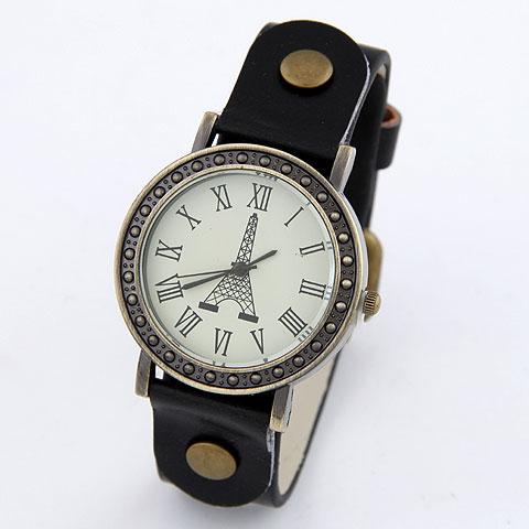 欧美时尚金属简洁百搭埃菲尔铁塔休闲女式皮质手表