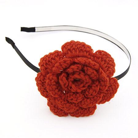 韩版时尚手工编织钩织毛线绒线大花朵发箍/头饰