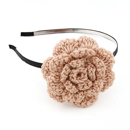 韩版时尚手工编织钩织毛线绒线大花朵发箍/头饰(已售完)