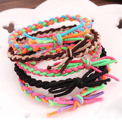 (1个价)韩版时尚手工编织小辫子发绳皮筋发圈(颜色随机)