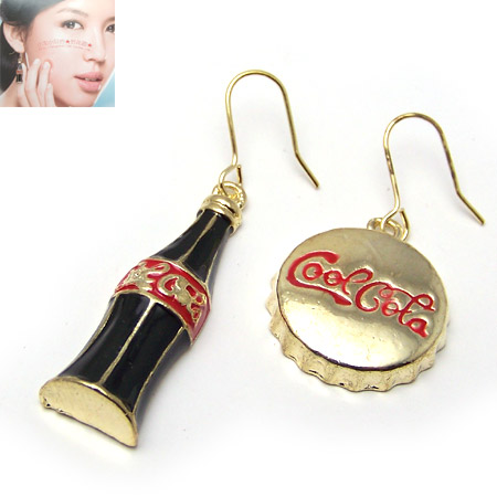 个性时尚可口可乐瓶盖不对称耳环图片