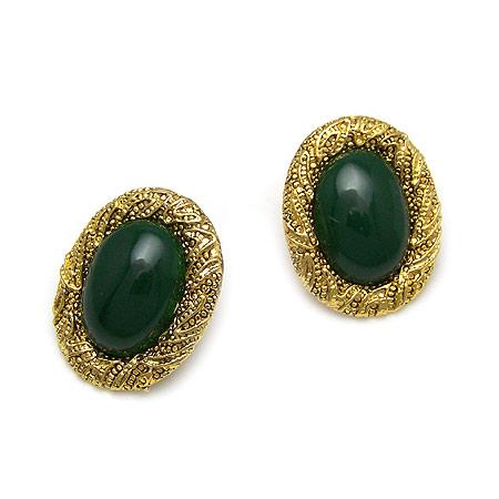 深绿 韩版时尚复古雕花镶嵌宝石耳钉