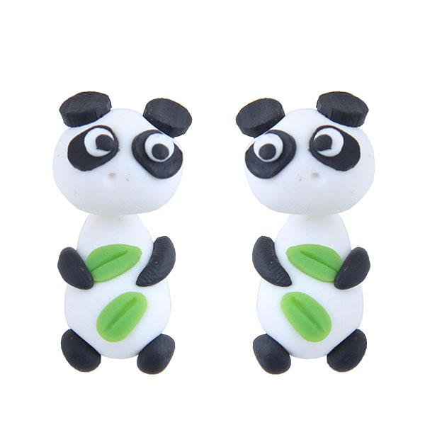 欧美时尚创意手工可爱小动物熊猫软陶泥个性耳钉