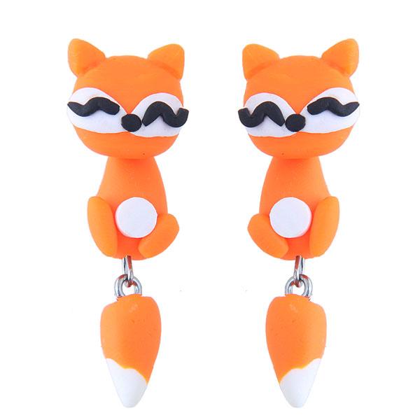欧美时尚创意手工可爱小动物狐狸软陶泥个性耳钉