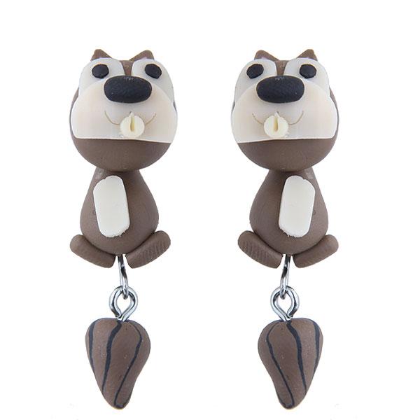 >> 欧美时尚创意手工可爱小动物松鼠软陶泥个性耳钉