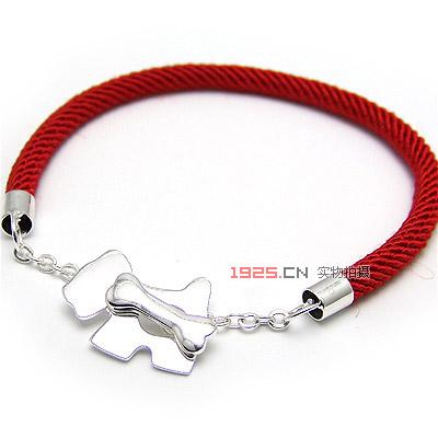 狗骨头红绳手链(已售完)|韩国饰品批发|银饰批发|银