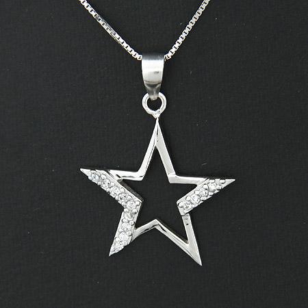00696纯银镂空五角星项链