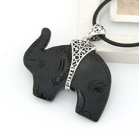 02362 泰银 黑曜石吊坠子 动物大象个性吊坠