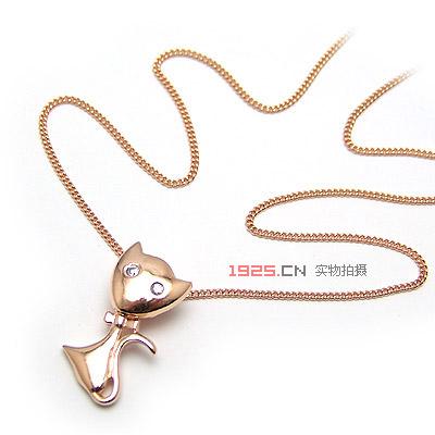 可爱小猫咪银项链